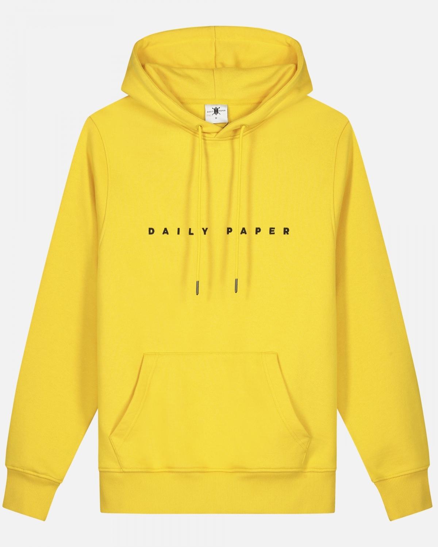 platte foto van gele trui hoodie van daily paper